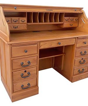 Roll Top Desk Solid Oak Wood Executive Desk 54wx24dx45h Honey Harvest Oak Finish Office Secretary Organizer Roll Hutch Top Easy Assembly Quality Crafted Construction Locking File Drawers Dovetailed 0 300x360