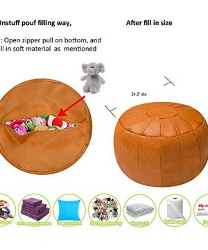 Rotot Decorative Pouf Ottoman Bean Bag Chair Foot Stool Foot Rest Storage Solution Or Wedding Gifts Unstuffed Tan 0 1 300x360