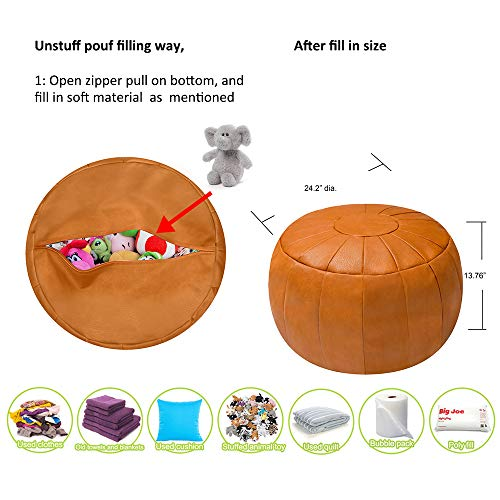 Rotot Decorative Pouf Ottoman Bean Bag Chair Foot Stool Foot Rest Storage Solution Or Wedding Gifts Unstuffed Tan 0 1