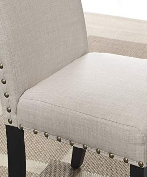 Roundhill Furniture Biony Tan Fabric Dining Chairs With Nailhead Trim Set Of 2 0 0 300x360