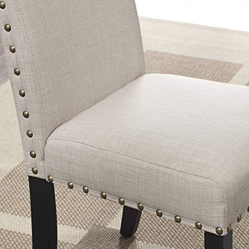 Roundhill Furniture Biony Tan Fabric Dining Chairs With Nailhead Trim Set Of 2 0 0