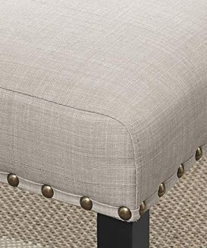 Roundhill Furniture Biony Tan Fabric Dining Chairs With Nailhead Trim Set Of 2 0 1 300x360
