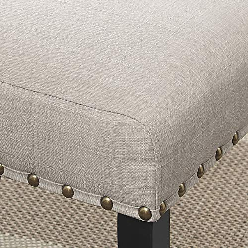 Roundhill Furniture Biony Tan Fabric Dining Chairs With Nailhead Trim Set Of 2 0 1