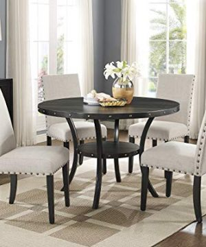 Roundhill Furniture Biony Tan Fabric Dining Chairs With Nailhead Trim Set Of 2 0 2 300x360