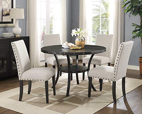 Roundhill Furniture Biony Tan Fabric Dining Chairs With Nailhead Trim Set Of 2 0 2