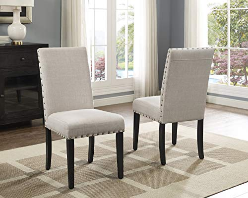 Roundhill Furniture Biony Tan Fabric Dining Chairs With Nailhead Trim Set Of 2 0