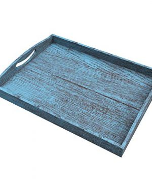 Rustic Wooden Serving Trays With Handle Set Of 3 Large Medium And Small Nesting Multipurpose Trays For Breakfast Coffee TableButler More Light Sturdy Paulownia Wood Rustic Blue 0 0 300x360