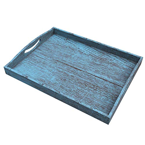 Rustic Wooden Serving Trays With Handle Set Of 3 Large Medium And Small Nesting Multipurpose Trays For Breakfast Coffee TableButler More Light Sturdy Paulownia Wood Rustic Blue 0 0