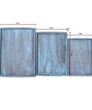 Rustic Wooden Serving Trays With Handle Set Of 3 Large Medium And Small Nesting Multipurpose Trays For Breakfast Coffee TableButler More Light Sturdy Paulownia Wood Rustic Blue 0 2 300x360