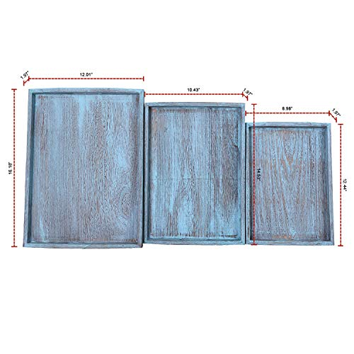 Rustic Wooden Serving Trays With Handle Set Of 3 Large Medium And Small Nesting Multipurpose Trays For Breakfast Coffee TableButler More Light Sturdy Paulownia Wood Rustic Blue 0 2