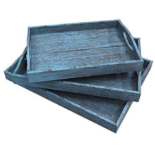 Rustic Wooden Serving Trays With Handle Set Of 3 Large Medium And Small Nesting Multipurpose Trays For Breakfast Coffee TableButler More Light Sturdy Paulownia Wood Rustic Blue 0
