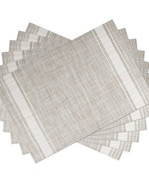 SICOHOME Placemats Set Of 6WhiteSoft Woven Vinyl Placemats For HomeKitchenOffice And Outdoor 0 300x360