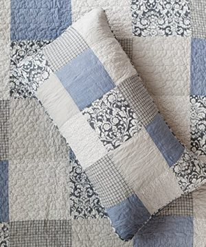 SLPR Sweet Dreams 2 Piece Patchwork Cotton Bedding Quilt Set Twin With 1 Sham Blue Country Quilted Bedspread 0 0 300x360