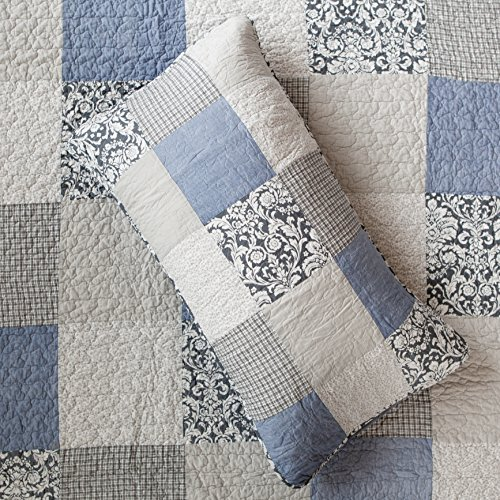 SLPR Sweet Dreams 2 Piece Patchwork Cotton Bedding Quilt Set Twin With 1 Sham Blue Country Quilted Bedspread 0 0