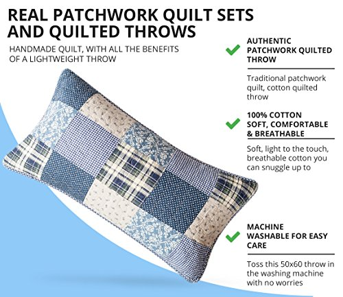 SLPR Sweet Dreams 2 Piece Patchwork Cotton Bedding Quilt Set Twin With 1 Sham Blue Country Quilted Bedspread 0 2