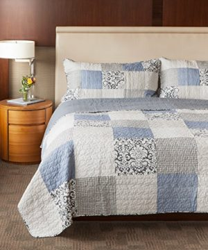 SLPR Sweet Dreams 2 Piece Patchwork Cotton Bedding Quilt Set Twin With 1 Sham Blue Country Quilted Bedspread 0 3 300x360