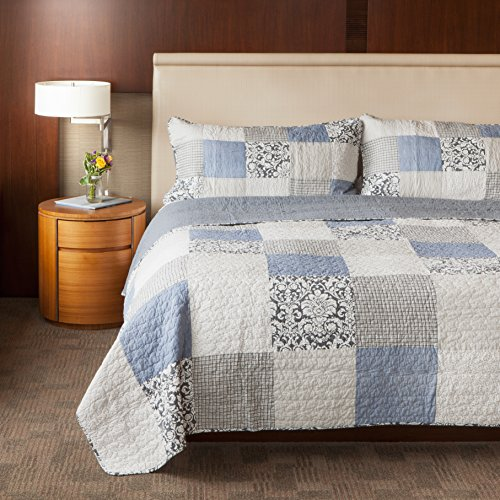 SLPR Sweet Dreams 2 Piece Patchwork Cotton Bedding Quilt Set Twin With 1 Sham Blue Country Quilted Bedspread 0 3