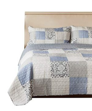 SLPR Sweet Dreams 2 Piece Patchwork Cotton Bedding Quilt Set Twin With 1 Sham Blue Country Quilted Bedspread 0 300x360
