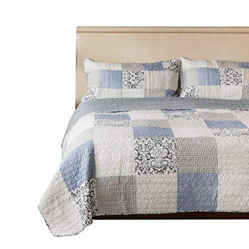 SLPR Sweet Dreams 2 Piece Patchwork Cotton Bedding Quilt Set Twin With 1 Sham Blue Country Quilted Bedspread 0