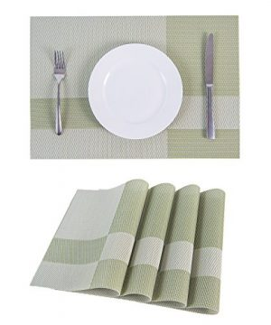 SUNSHINE FASHION Set Of 4 PlacematsPlacemats For Dining TableHeat Resistant Placemats Stain Resistant Washable PVC Table MatsKitchen Table Mats4 Plaid Green 0 0 300x360