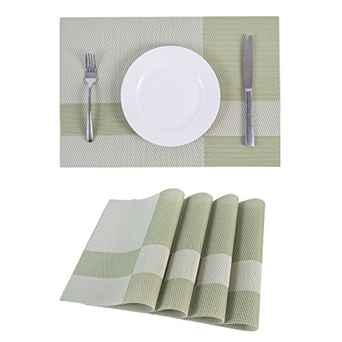 SUNSHINE FASHION Set Of 4 PlacematsPlacemats For Dining TableHeat Resistant Placemats Stain Resistant Washable PVC Table MatsKitchen Table Mats4 Plaid Green 0 0