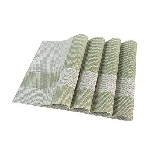 SUNSHINE FASHION Set Of 4 PlacematsPlacemats For Dining TableHeat Resistant Placemats Stain Resistant Washable PVC Table MatsKitchen Table Mats4 Plaid Green 0 1