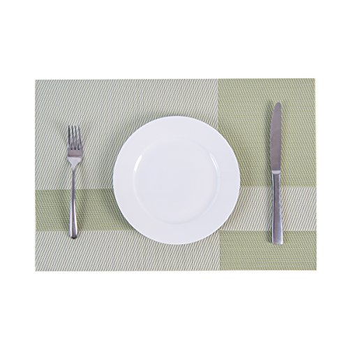 SUNSHINE FASHION Set Of 4 PlacematsPlacemats For Dining TableHeat Resistant Placemats Stain Resistant Washable PVC Table MatsKitchen Table Mats4 Plaid Green 0 2