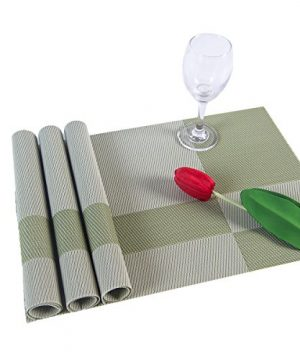 SUNSHINE FASHION Set Of 4 PlacematsPlacemats For Dining TableHeat Resistant Placemats Stain Resistant Washable PVC Table MatsKitchen Table Mats4 Plaid Green 0 3 300x360