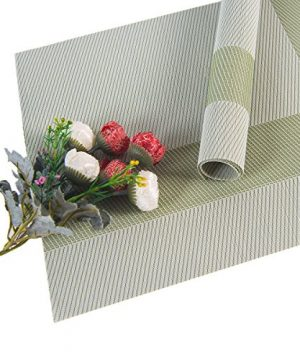 SUNSHINE FASHION Set Of 4 PlacematsPlacemats For Dining TableHeat Resistant Placemats Stain Resistant Washable PVC Table MatsKitchen Table Mats4 Plaid Green 0 4 300x360