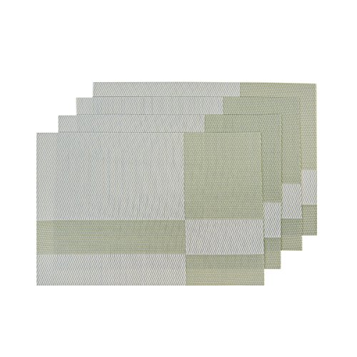 SUNSHINE FASHION Set Of 4 PlacematsPlacemats For Dining TableHeat Resistant Placemats Stain Resistant Washable PVC Table MatsKitchen Table Mats4 Plaid Green 0
