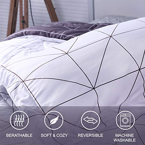SUNVIOR Comforter Set Twin Size With 1 Pillow Shams Ultra Soft Down Alternative Bed Comforter Set For All Season 2 Piece Reversible Pattern Bedding Set Lightweight Microfiber Black And White 0 1