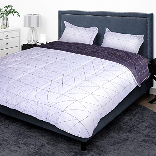 SUNVIOR Comforter Set Twin Size With 1 Pillow Shams Ultra Soft Down Alternative Bed Comforter Set For All Season 2 Piece Reversible Pattern Bedding Set Lightweight Microfiber Black And White 0