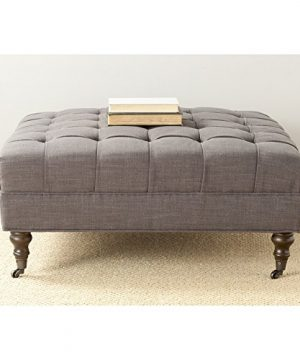 Safavieh Mercer Collection Clark Cocktail Ottoman Charcoal Brown 0 300x360