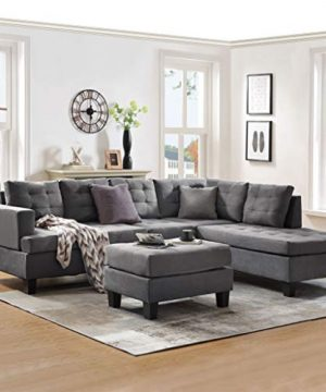 Sectional Sofa With Chaise Lounge And Ottoman 3 Seat Sofas Couch Set For Living Room Gray 0 300x360