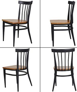 Set Of 2 Dining Side Chairs Natural Wood Seat And Sturdy Iron Frame Simple Kitchen Restaurant Chairs For Dining Room Cafe Bistro Ergonomic DesignComb Back 0 0 300x360
