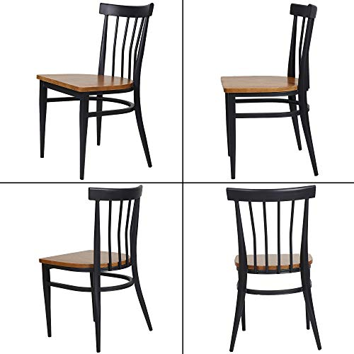 Set Of 2 Dining Side Chairs Natural Wood Seat And Sturdy Iron Frame Simple Kitchen Restaurant Chairs For Dining Room Cafe Bistro Ergonomic DesignComb Back 0 0