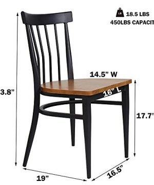Set Of 2 Dining Side Chairs Natural Wood Seat And Sturdy Iron Frame Simple Kitchen Restaurant Chairs For Dining Room Cafe Bistro Ergonomic DesignComb Back 0 1 300x360