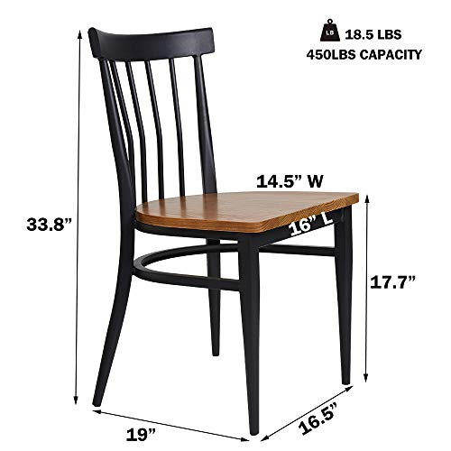 Set Of 2 Dining Side Chairs Natural Wood Seat And Sturdy Iron Frame Simple Kitchen Restaurant Chairs For Dining Room Cafe Bistro Ergonomic DesignComb Back 0 1