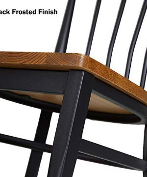 Set Of 2 Dining Side Chairs Natural Wood Seat And Sturdy Iron Frame Simple Kitchen Restaurant Chairs For Dining Room Cafe Bistro Ergonomic DesignComb Back 0 3 300x360