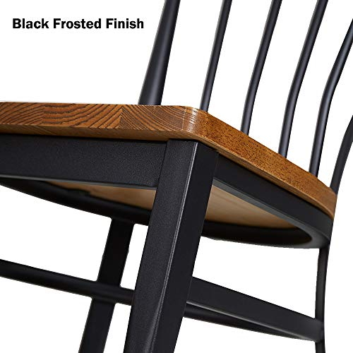 Set Of 2 Dining Side Chairs Natural Wood Seat And Sturdy Iron Frame Simple Kitchen Restaurant Chairs For Dining Room Cafe Bistro Ergonomic DesignComb Back 0 3