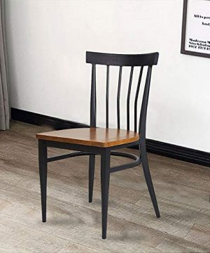 Set Of 2 Dining Side Chairs Natural Wood Seat And Sturdy Iron Frame Simple Kitchen Restaurant Chairs For Dining Room Cafe Bistro Ergonomic DesignComb Back 0 4 300x360