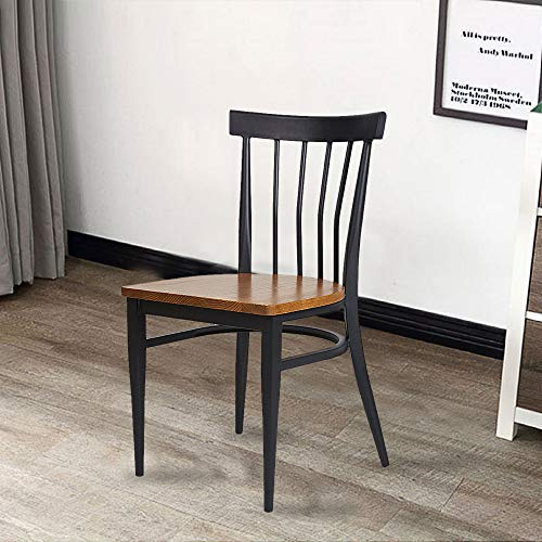 Set Of 2 Dining Side Chairs Natural Wood Seat And Sturdy Iron Frame Simple Kitchen Restaurant Chairs For Dining Room Cafe Bistro Ergonomic DesignComb Back 0 4