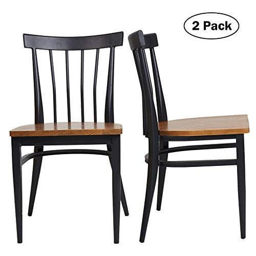Set Of 2 Dining Side Chairs Natural Wood Seat And Sturdy Iron Frame Simple Kitchen Restaurant Chairs For Dining Room Cafe Bistro Ergonomic DesignComb Back 0