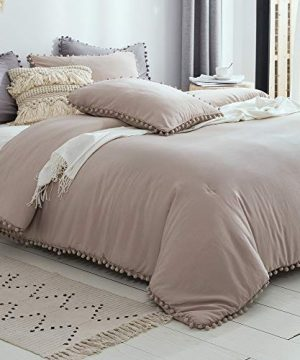 SexyTown Pom Comforter Set Queen SizeUltra Soft Warm Fluffy Bed Down ComforterMicrofiber Inner Fill Bedding 3 Pieces1 Boho Comforter2 Pom Pom Trim Ball Fringe Pillow Shams 0 300x360