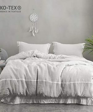 SimpleOpulence 100 Linen Duvet Cover SetTwin Size68 X 862 Pcs Soft Flax Bedding Set With Striped Detail1 Comforter Cover And 1 PillowcaseGrey 0 300x360