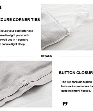 SimpleOpulence 100 Linen Frill Floral Flax Twin Size Duvet Cover Set 68x86 Shabby Chic Ruffle Edge With Lace Stripe 3 Piece Farmhouse Bedding 1 Comforter Cover And 1 Pillowsham Floral Grey 0 0 300x360