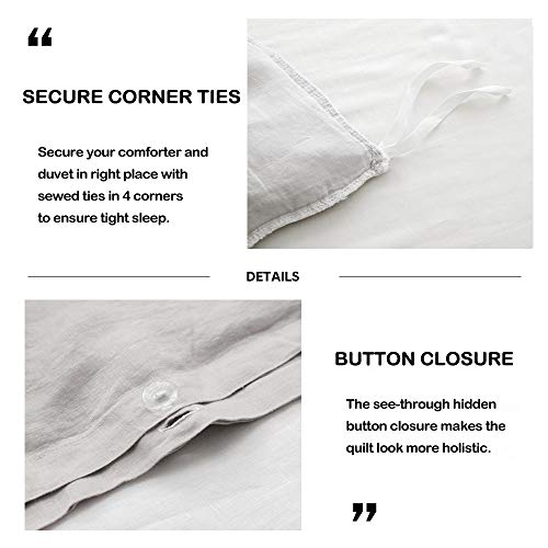 SimpleOpulence 100 Linen Frill Floral Flax Twin Size Duvet Cover Set 68x86 Shabby Chic Ruffle Edge With Lace Stripe 3 Piece Farmhouse Bedding 1 Comforter Cover And 1 Pillowsham Floral Grey 0 0