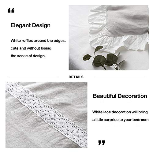 SimpleOpulence 100 Linen Frill Floral Flax Twin Size Duvet Cover Set 68x86 Shabby Chic Ruffle Edge With Lace Stripe 3 Piece Farmhouse Bedding 1 Comforter Cover And 1 Pillowsham Floral Grey 0 1