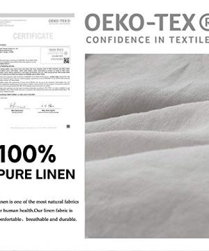SimpleOpulence 100 Linen Frill Floral Flax Twin Size Duvet Cover Set 68x86 Shabby Chic Ruffle Edge With Lace Stripe 3 Piece Farmhouse Bedding 1 Comforter Cover And 1 Pillowsham Floral Grey 0 3 300x360
