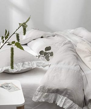 SimpleOpulence 100 Linen Frill Floral Flax Twin Size Duvet Cover Set 68x86 Shabby Chic Ruffle Edge With Lace Stripe 3 Piece Farmhouse Bedding 1 Comforter Cover And 1 Pillowsham Floral Grey 0 5 300x360